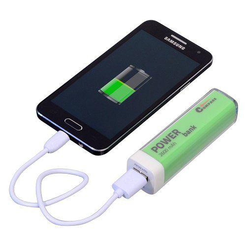 Auto nabíječka s externí baterií 2600mA zelený + 30cm kabel, Powerbanka