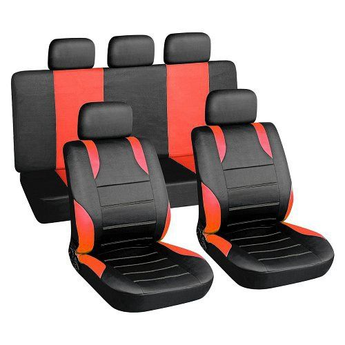 Autopotahy červené SPORT Univerzální na auto s atestem na airbag, zipem dělená lavice Vyrobeno v EU