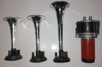 Vzduchové plastové fanfáry s kompresorem 3 tóny 12V AKCE | červená, chrom