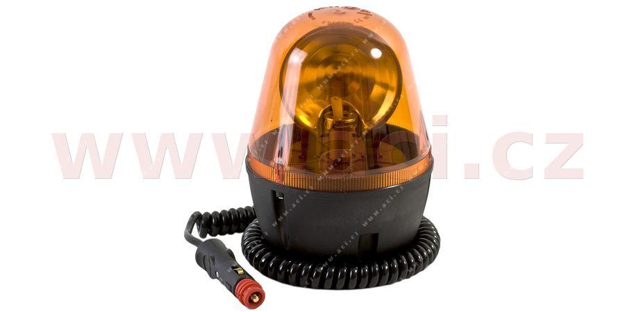 Magnetický maják oranžový 12/24V, žárovka H1, 3m kabel s zástrčkou modrá