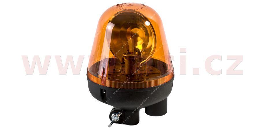 Maják oranžový 12/24V, žárovka H1, s systémem uchycení na tyč modrá