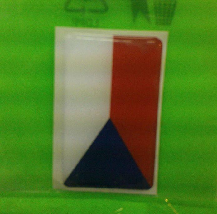 Samolepka dekor plast vlajka české republiky malá 1,7 x 2,7 cm Vyrobeno v EU