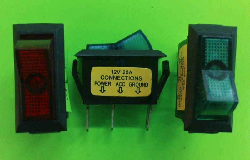 Univerzální kolébkový vypínač obdelníkový s kontrolkou 12V, 13 x 30mm, červený, modrý, zelený, černý, oranžový tuning