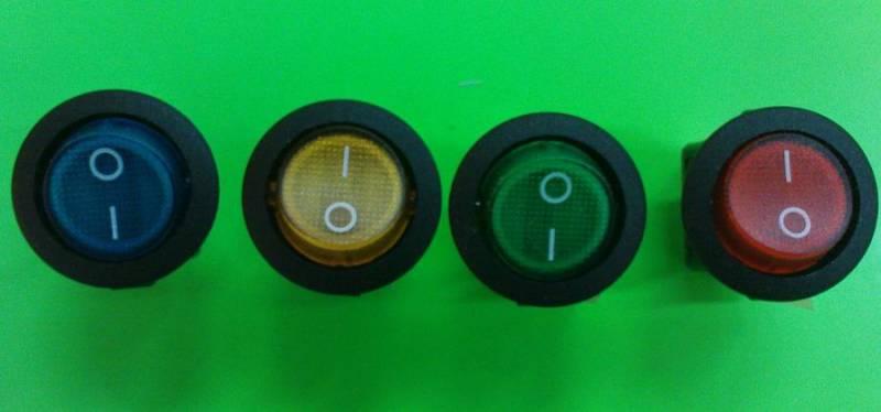 Kolébkový vypínač kulatý, průměr 23mm s kontrolkou červený, modrý, oranžový, černý, zelený Vyrobeno v EU