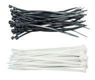 Upínací pásek na kabely 300 x 3,6 mm bílý, černý 100ks