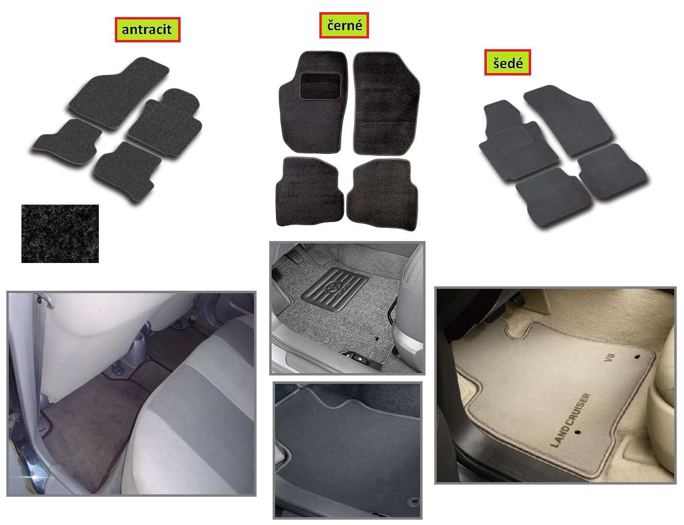 Autokoberce Citroen C3 Pluriel 2003 az 2005r, textilní přesné na míru autokoberce antracit